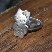 Zilveren ring Hello kitty