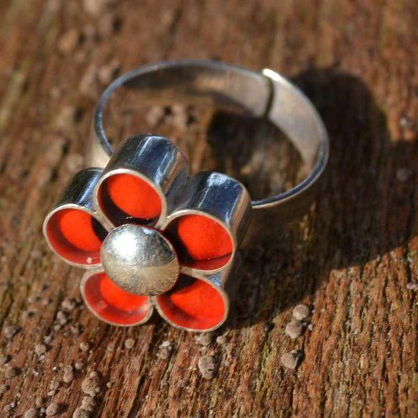 Zilveren ring Huayruro Bloem