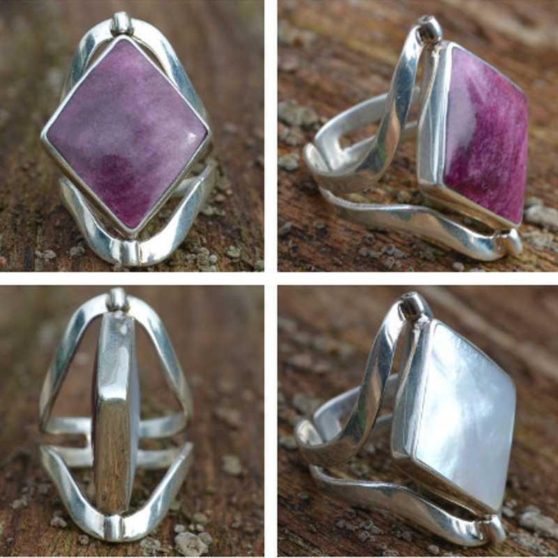 Zilveren ring Dubbel steen Dejavu