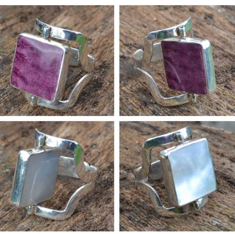 Zilveren ring Dubbel steen Diva