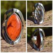 Zilveren ring met dubbel steen 1702