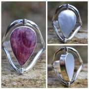 Zilveren ring Dubbel steen 1708