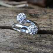 Zilveren ring Strass
